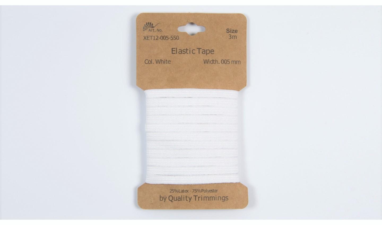 Karte 3m Elastik Gummi 5mm breit in weiß (550)