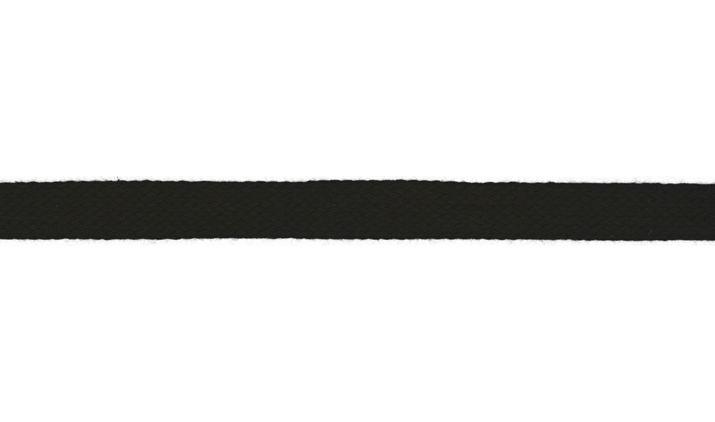 Kordel Baumwolle flach 15mm uni schwarz