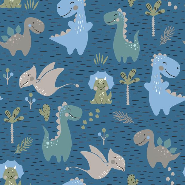 Baumwolljersey jeansblau mit verschiedenen Dinosaurier