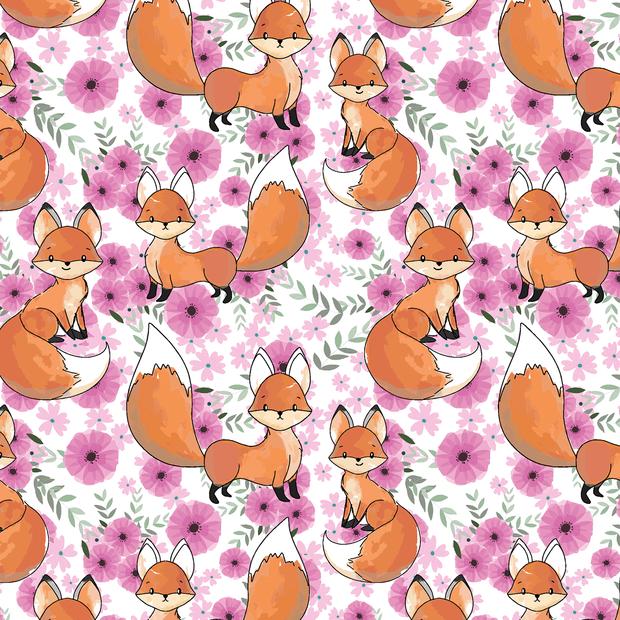 Baumwolljersey mit Blumen und Füchsen - weiß/pink