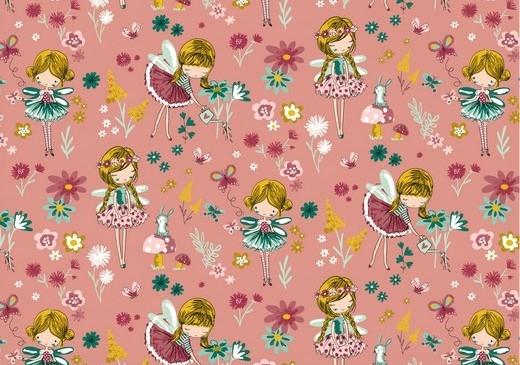 "Baumwollstoff rosa ""Fairy World"""