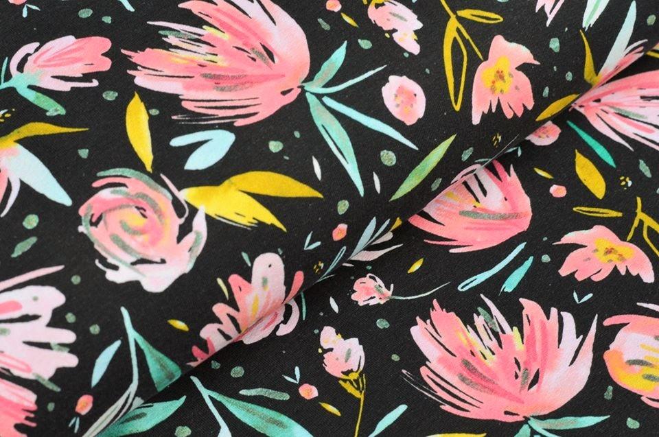 Sommersweat schwarz mit Blumen - Digitaldruck