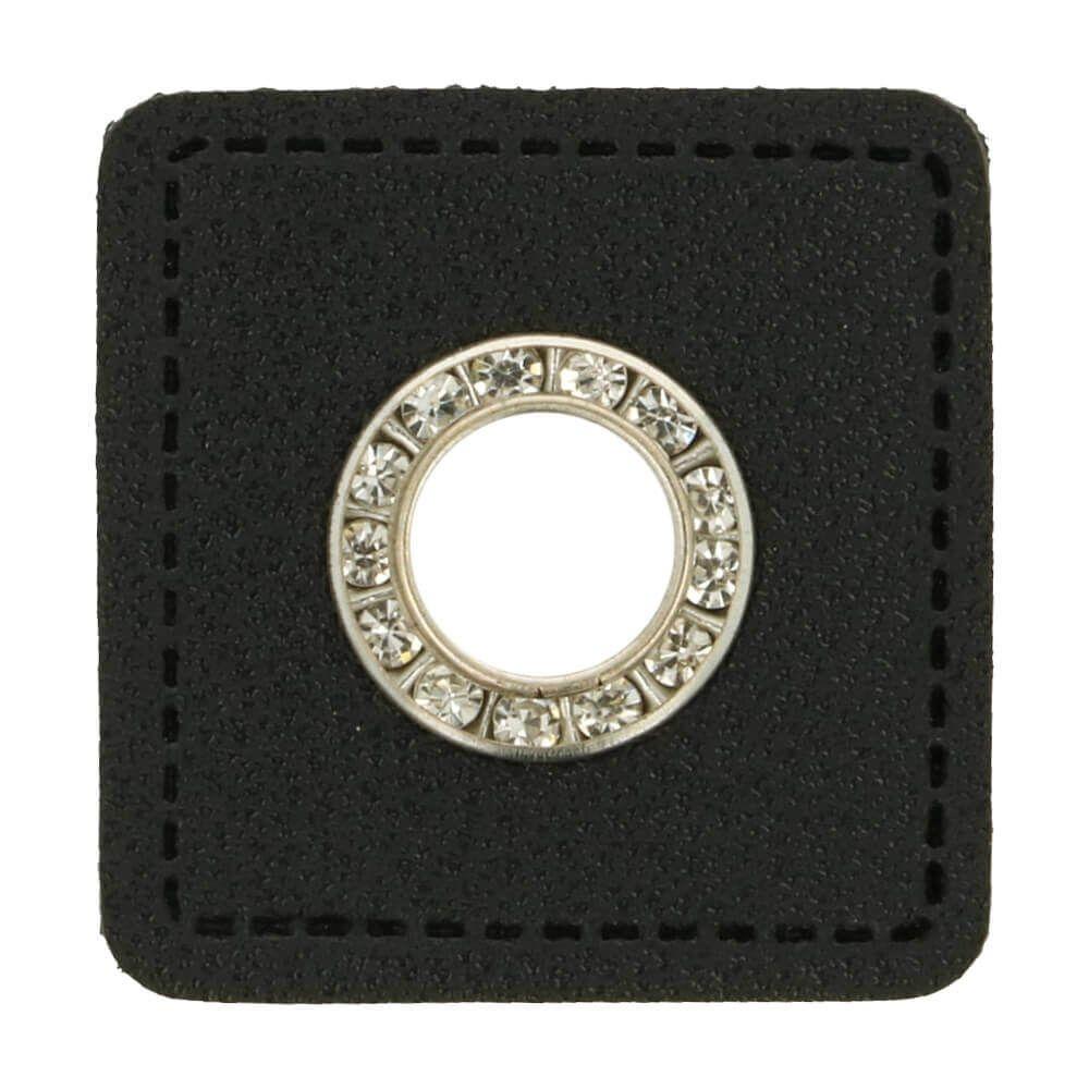 Ösen auf schwarzem Kunstleder mit Glitzersteinen nickel 8mm