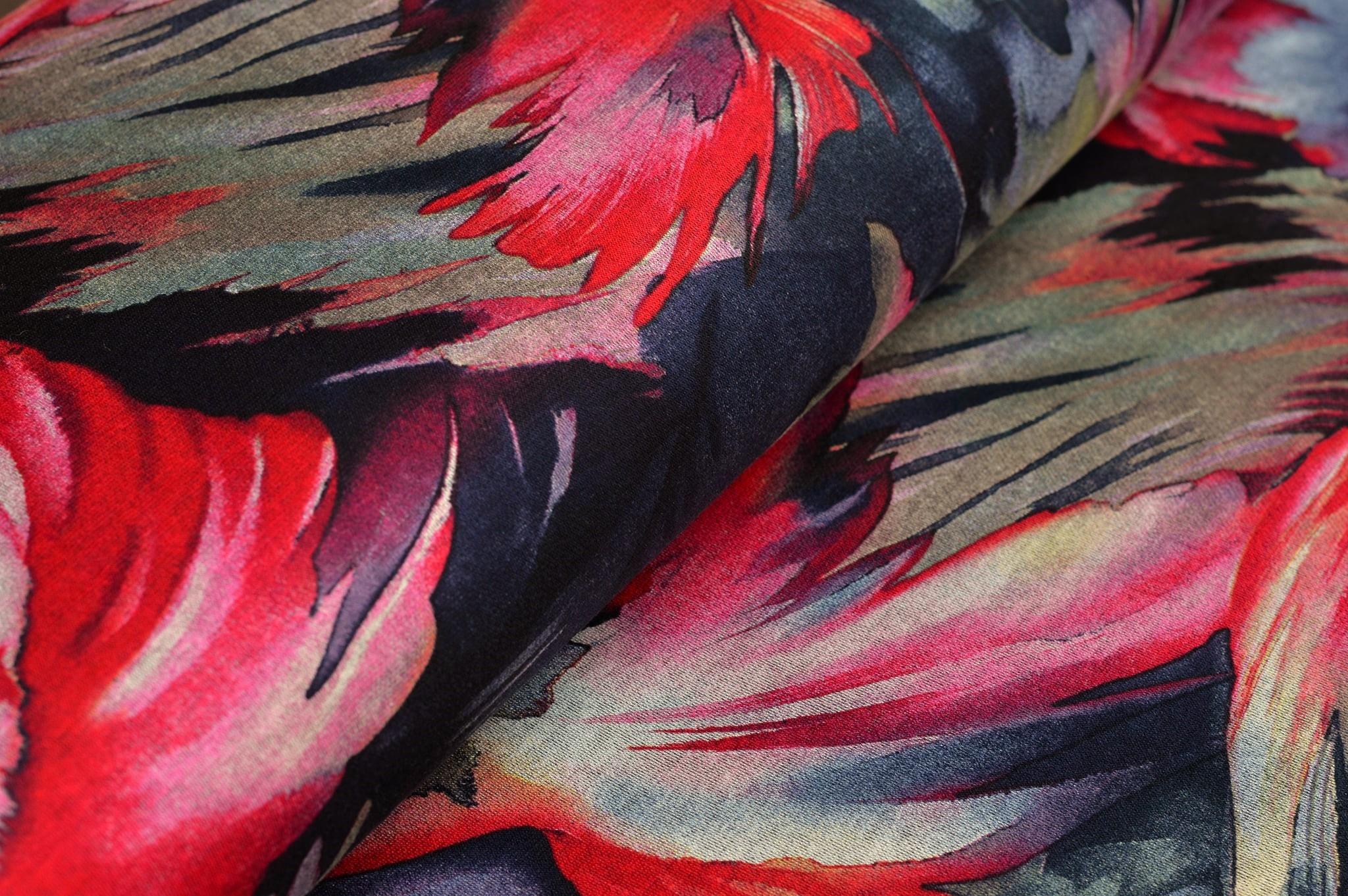1,20m Reststück         Romanit Jersey mit Modern Leaves - pink