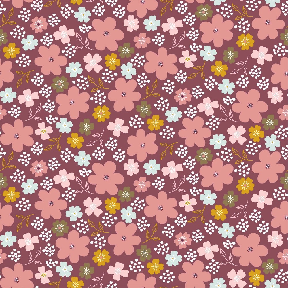 "Baumwolljersey Organic Cotton ""Flower Field"" - weinrot"