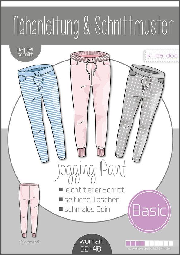 Papierschnittmuster Basic Jogging Pants Damen 32-48 von Ki-ba-doo