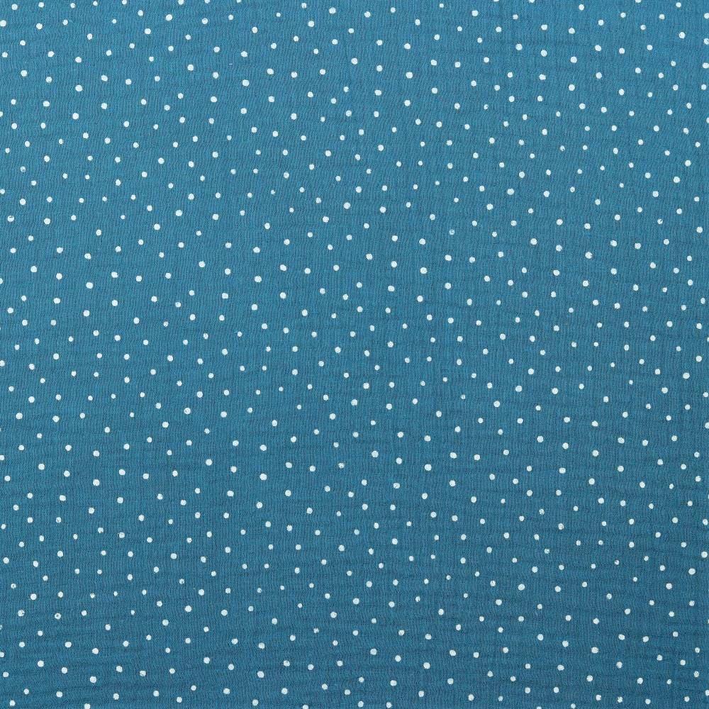 Baumwolle Musselin Double Gauze petrol mit weißen Dots