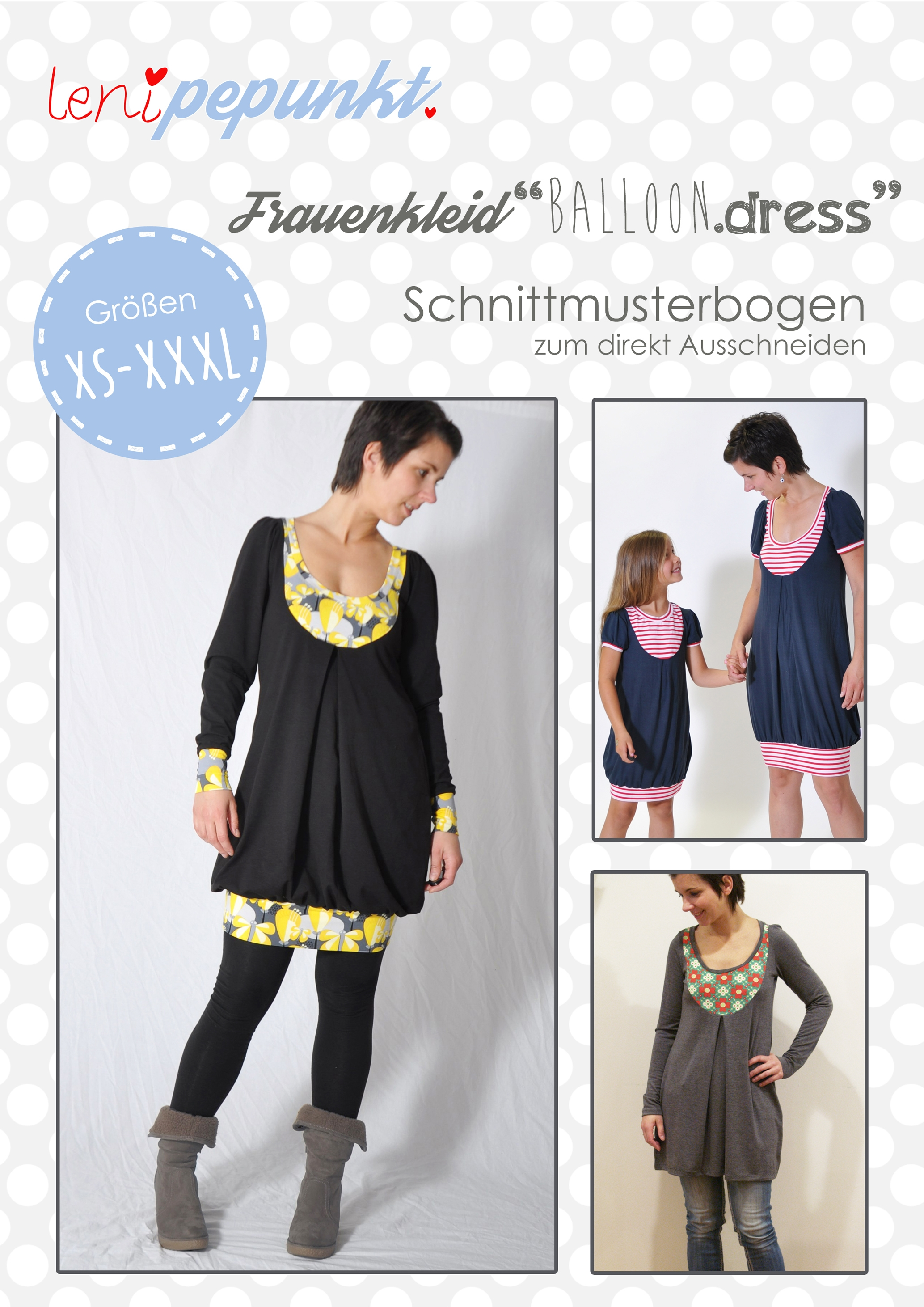 "Papierschnittmuster Frauenkleid ""Balloon.dress"" von Leni Pepunkt"