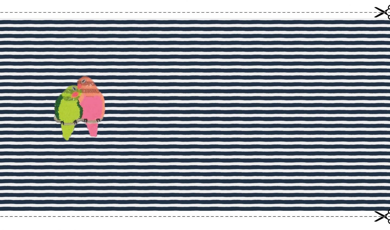 "Baumwolljersey Panel ""Glitter Parrots"" - dunkelblau/weiß gestreift"
