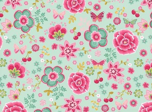 Baumwollstoff mint mit Schmetterlingen, Kirschen und Blumen