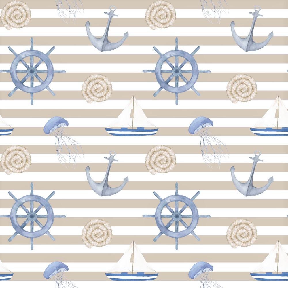 "Canvas Digital ""Sail Away"" - sand/weiß gestreift"