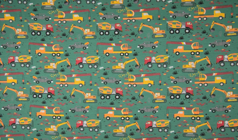 Baumwolljersey grün mit Baufahrzeugen