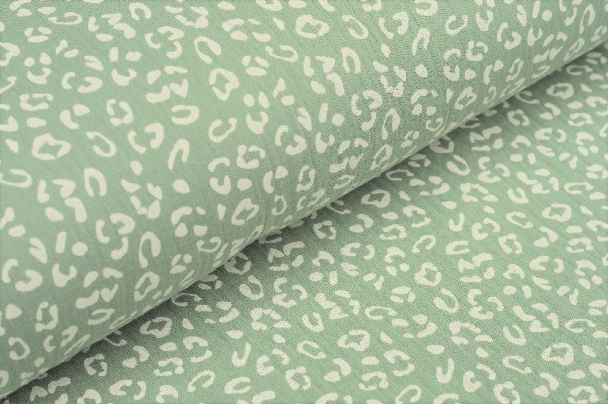 Baumwolle Musselin Double Gauze altgrün mit Animal Print