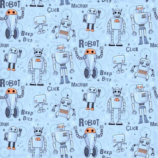 Sommersweat hellblau mit verschiedenen Roboter