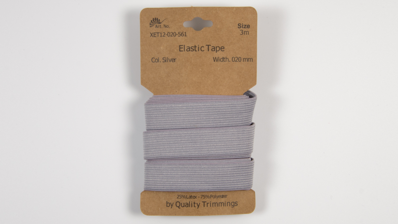 Karte 3m Elastik Gummi 20mm breit in silver (561)
