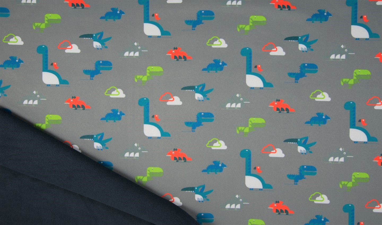 Softshell grau mit Wolken und Dinosaurier