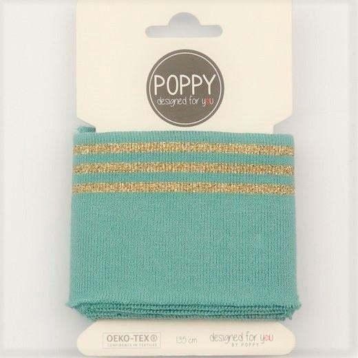 Boord Cuffs - Elastisches Bündchen in altgrün mit goldenen Streifen designed by Poppy