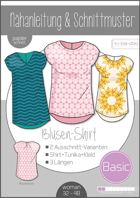 Papierschnittmuster Damen Basic Blusen-Shirt 32-50 von Ki-ba-doo