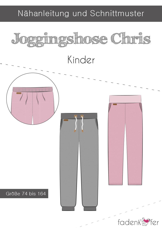 Papierschnittmuster Jogginghose Chris für Kinder 74-164 von Fadenkäfer