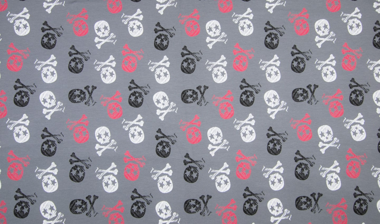 Sommersweat mit rot/schwarz/weißen Skulls - grau
