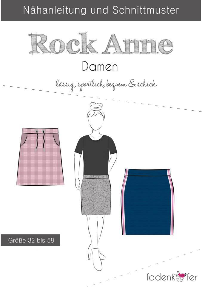 Papierschnittmuster Rock Anne für Damen 32-58 von Fadenkäfer