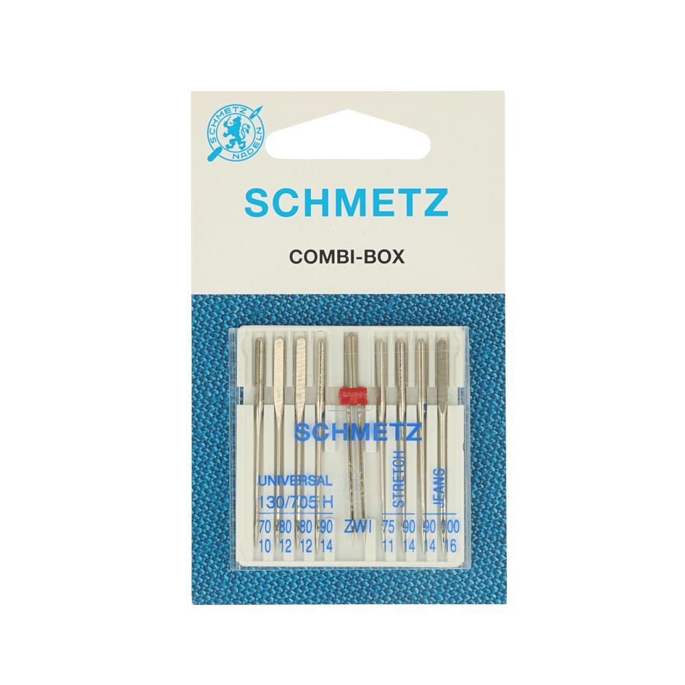 Schmetz Kombi-Box Nähmaschinennadeln Universal, Zwillingsnadel, Stretch, Jeans