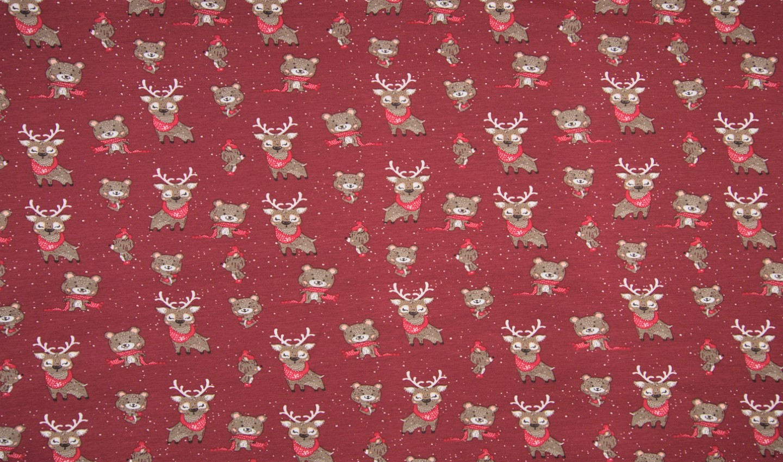 "Baumwolljersey ""Christmas Animals"" - dunkelrot"