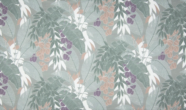 "1,25m Reststück     Sommersweat Organic Cotton angeraut ""Leaves"" - dusty green"