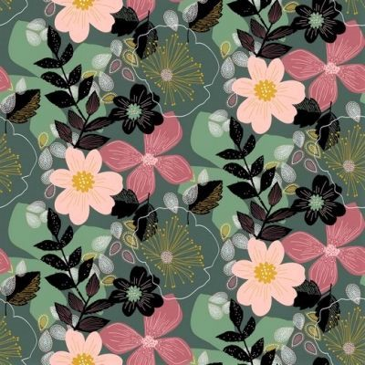 "Softsweat angeraut Organic Cotton ""Floral"" - dusty green"