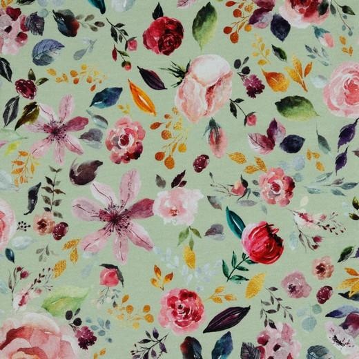 "Sommersweat Organic Cotton ""Painted Flowers"" mint - Digitaldruck"