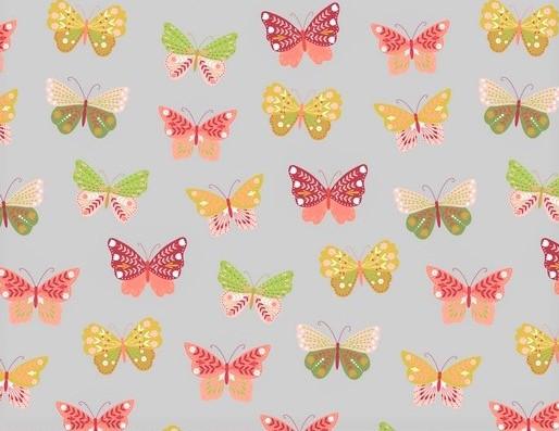 Baumwollstoff hellgrau mit bunten Schmetterlingen