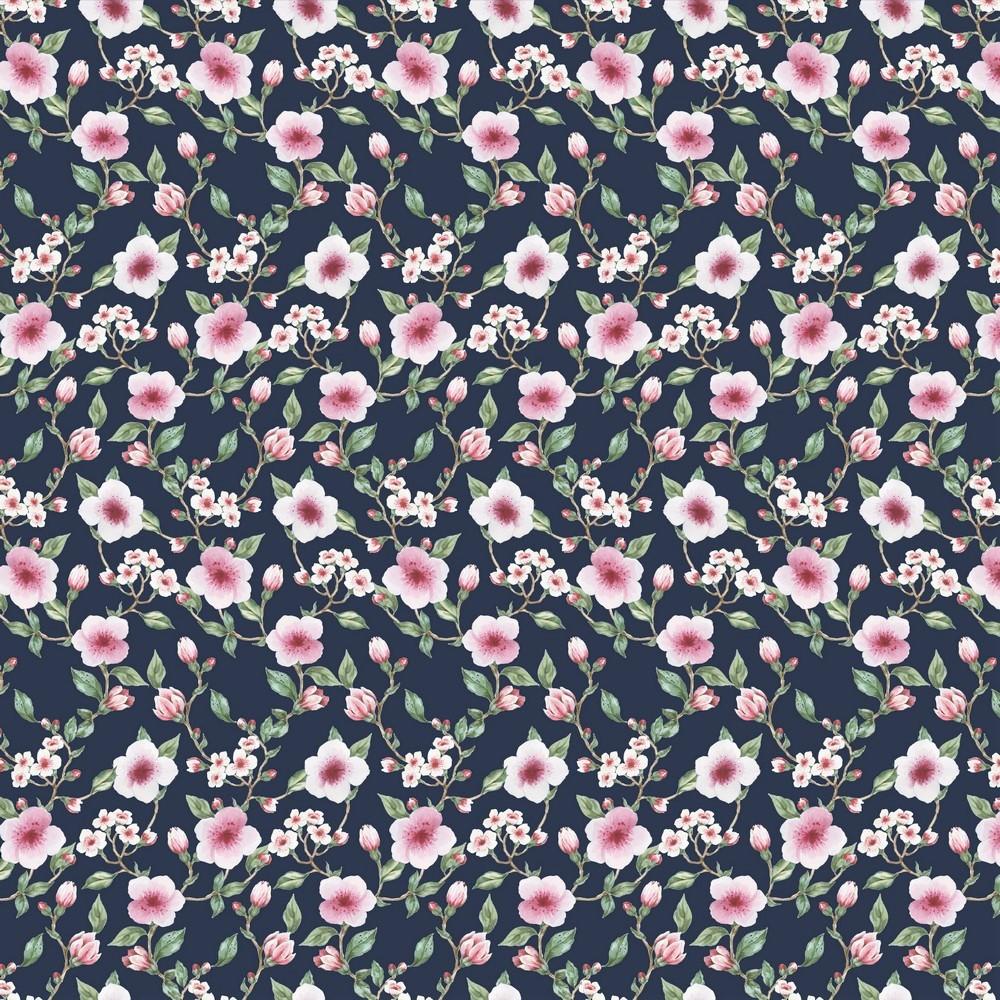 """Sommersweat Organic Cotton """"Flower Blossom"""" schwarz - Digitaldruck"""