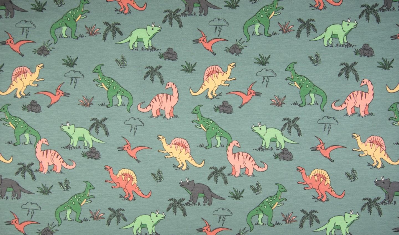 Sommersweat mit verschiedenen Dinosauriern - dusty green