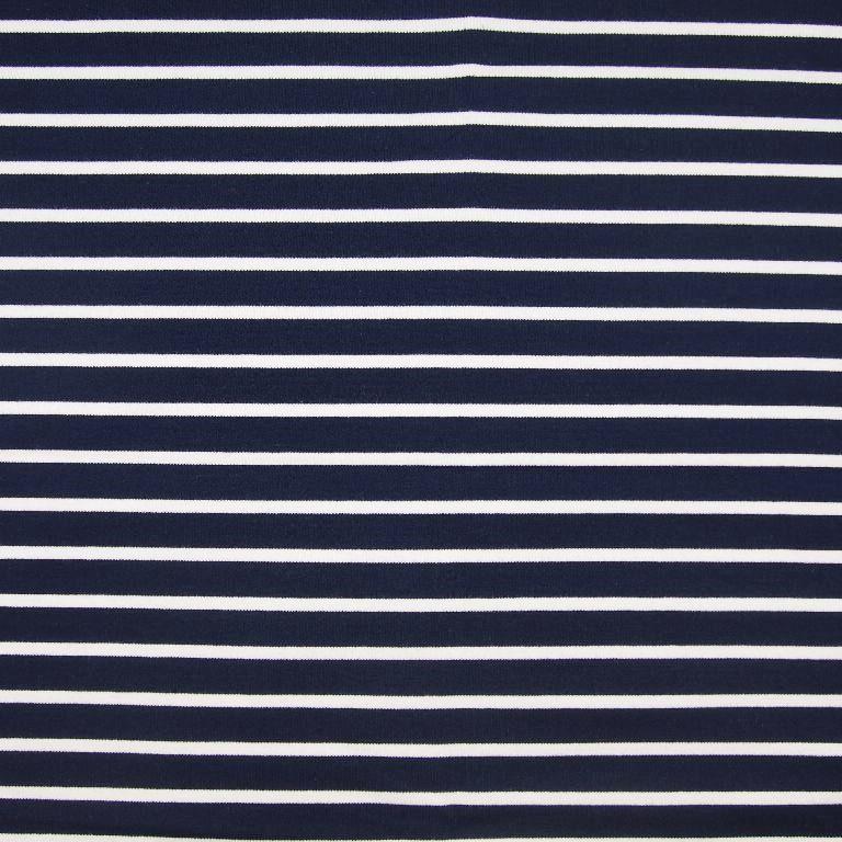 Sommersweat mit breiteren Streifen - navy/ecru