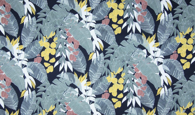 "Sommersweat Organic Cotton angeraut ""Leaves"" - navy/ocker"