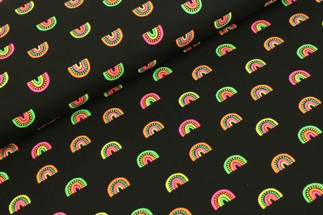 Baumwolljersey schwarz mit bunten Regenbögen - Neon