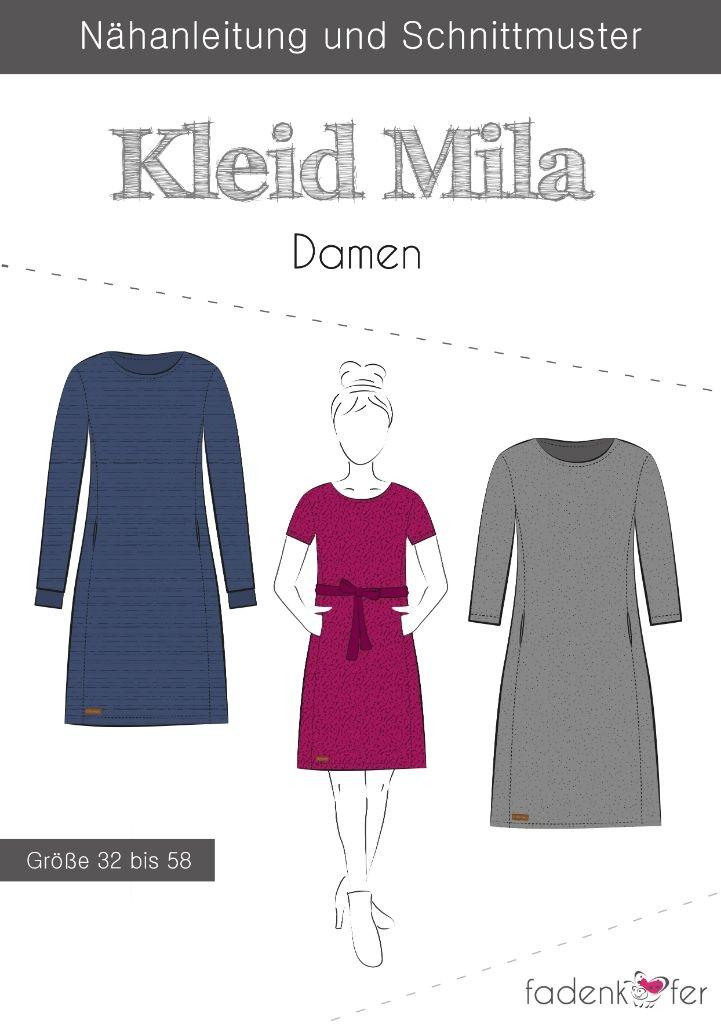 Papierschnittmuster Kleid Mila für Damen 32-58 von Fadenkäfer
