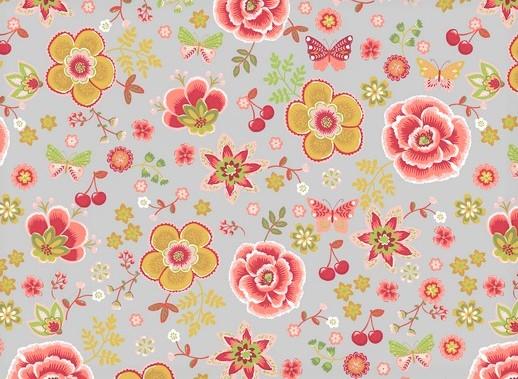 Baumwollstoff hellgrau mit Schmetterlingen, Kirschen und Blumen