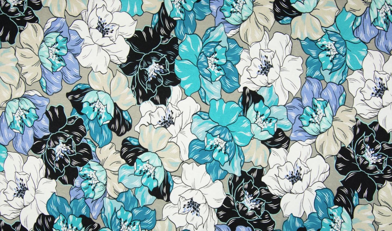 Viskosejersey khaki mit blau/weißen Blumen