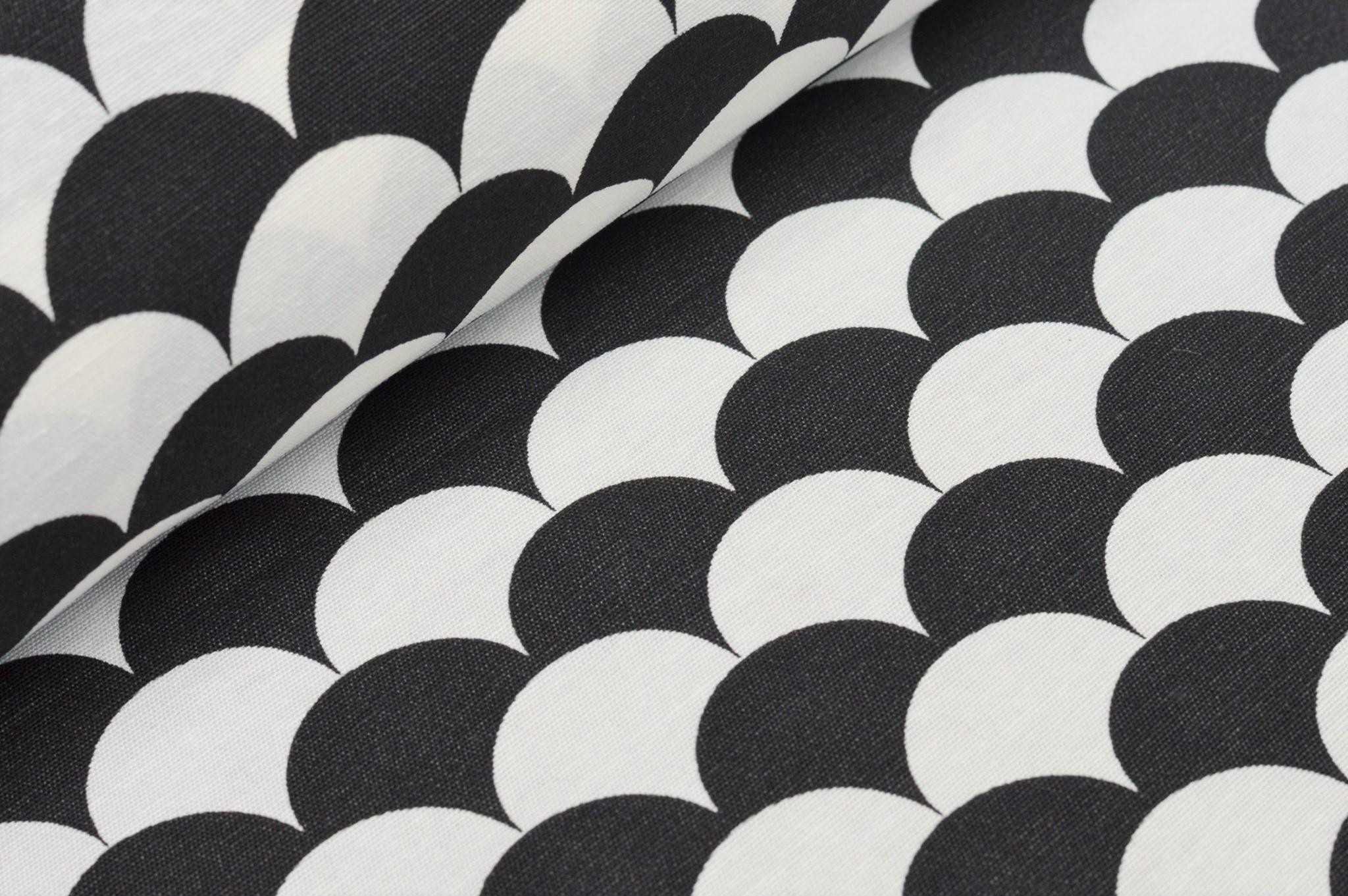 Dekostoff mit Wellenmuster schwarz/weiß