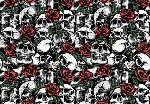 "Baumwollstoff ""Skulls and Roses"" - weiß"