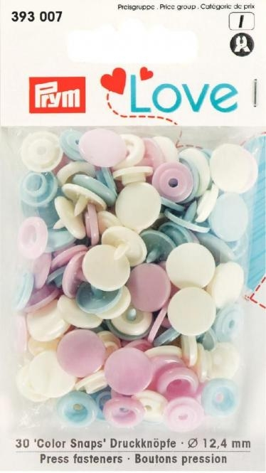 Prym Love Druckknopf Color Snaps 12,4mm ecru/rosa/hellblau