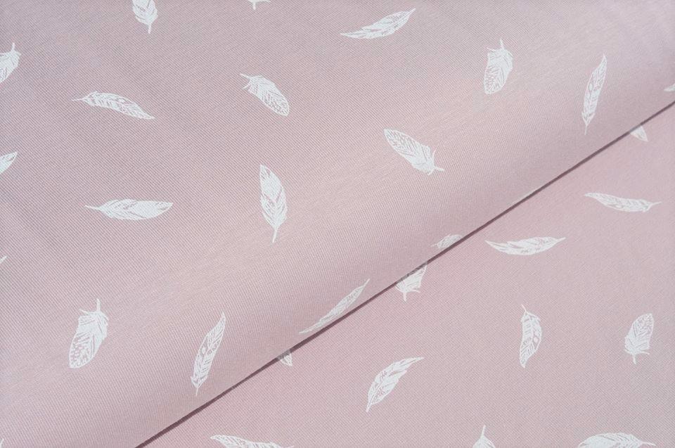 Baumwolljersey dusty rose mit weißen Federn
