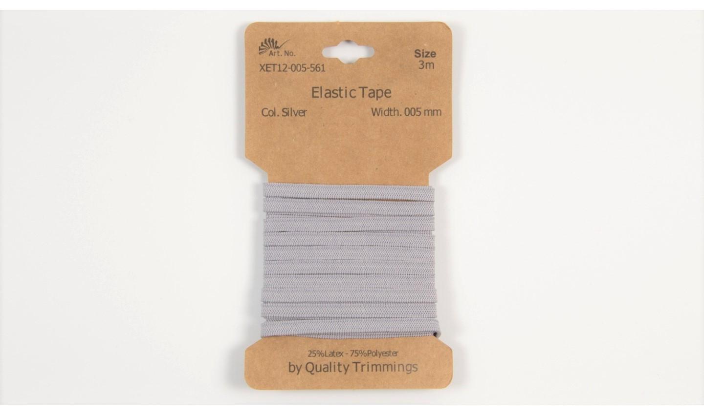 Karte 3m Elastik Gummi 5mm breit in hellgrau (561)