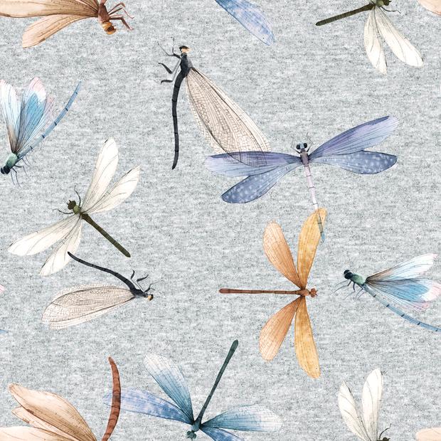 Digitaljersey hellgrau meliert mit Libellen