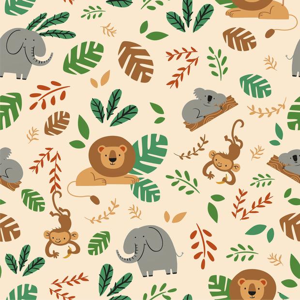 Baumwolljersey mit Dschungeltieren - beige