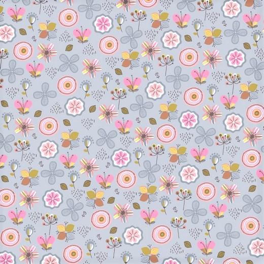 "Softsweat angeraut Organic Cotton ""Flowers"" - hellgrau"
