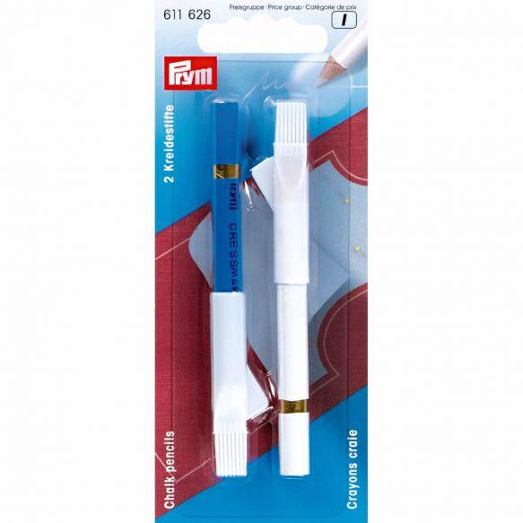 Prym 2 Kreidestifte mit Bürste - weiß/blau