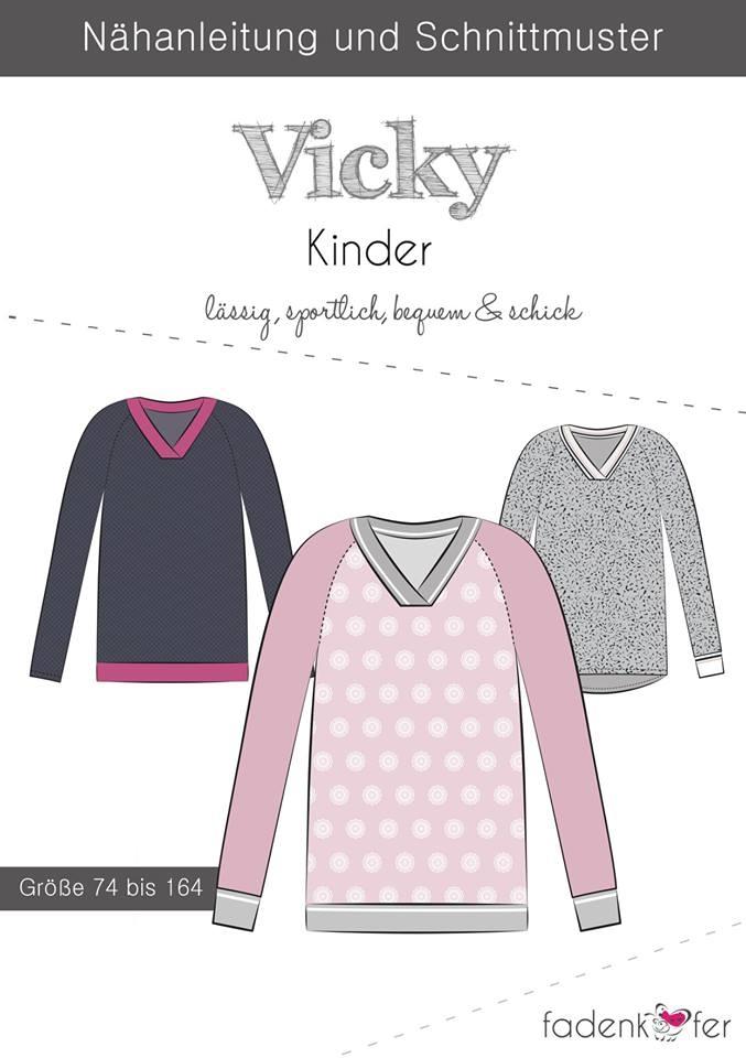 Papierschnittmuster Vicky für Kinder 74-164 von Fadenkäfer