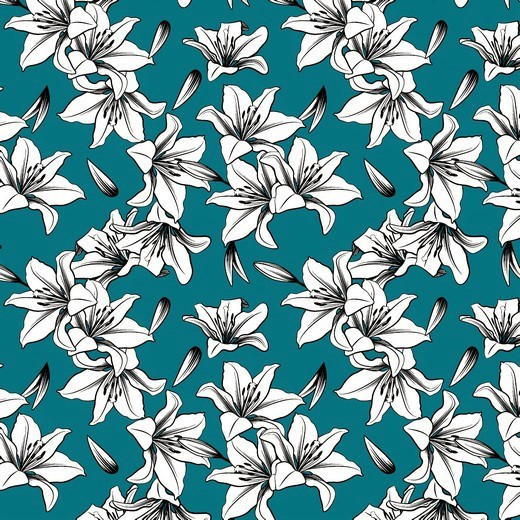 "Canvas ""Lily"" mit Blumen - petrol"